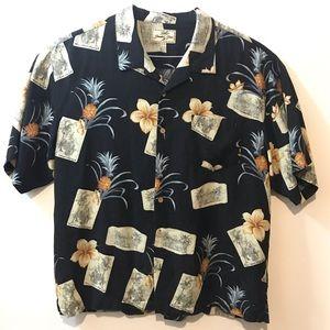 Jamaica Jaxx Mens Black Hawaiian Silk XXL Shirt
